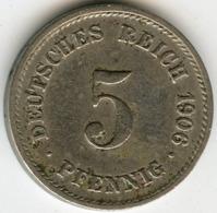 Allemagne Germany 5 Pfennig 1906 G J 12 KM 11 - [ 2] 1871-1918 : Empire Allemand