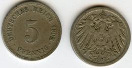 Allemagne Germany 5 Pfennig 1908 A J 12 KM 11 - [ 2] 1871-1918 : Empire Allemand