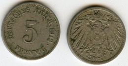 Allemagne Germany 5 Pfennig 1912 G J 12 KM 11 - [ 2] 1871-1918 : Empire Allemand