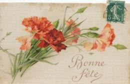 Carte En Soir Peinte Roses . Silk Card Hand Painted . Klein ? - Ansichtskarten