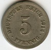 Allemagne Germany 5 Pfennig 1914 A J 12 KM 11 - [ 2] 1871-1918 : Empire Allemand
