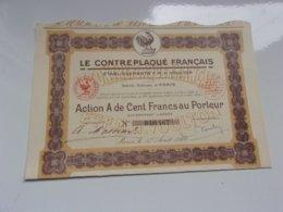 LE CONTREPLAQUE FRANCAIS  (ets VOULTON) 100 Francs (1929) - Actions & Titres