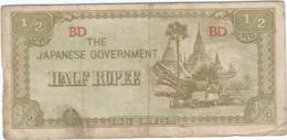 Birmania (Ocupación Japonesa) - Burma 1/2 Rupee 1942 Pk 13 B Ref 182 2 - Myanmar