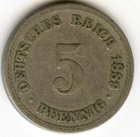 Allemagne Germany 5 Pfennig 1889 A J 3 KM 3 - [ 2] 1871-1918 : Empire Allemand