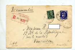 Lettre Recommandée Garche Sur Ceres Mercure - Postmark Collection (Covers)