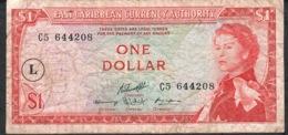 E.C.T. P1cl 1 DOLLAR 1965 L In Circle /signature 10  F-VF NO P.h. - Oostelijke Caraïben