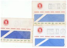 LETTRES CACHET P. P. DIEPPE PLASMARINE MARINOL IONYL  1961  1962  1963 - Marcophilie (Lettres)