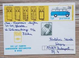 POLOGNE Autocars, Autocar, Bus, Entier Postal Ayant Circulé Pour BUDAPEST 1968 - Bus