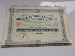 SOCIETE DES TEXTILES CHIMIQUES DU CENTRE (100 Francs)1929 - Actions & Titres