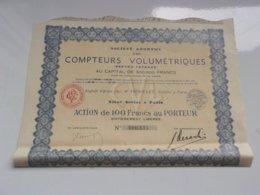 COMPTEURS VOLUMETRIQUES (100 Francs) Capital 0,5 Million (1936) - Actions & Titres