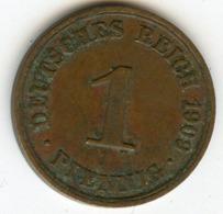 Allemagne Germany 1 Pfennig 1909 A J 10 KM 10 - 1 Pfennig