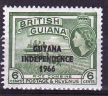 Guyana 1966 Single 6c Stamp From The British Guiana Definitive Series Overprinted For Guyana. - Guyana (1966-...)