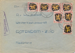Germany 1946 French Zone Cover From Űberlingen To Netherlands With Arm Of Pfalz 3 Pf. + 6 X 12 Pf. - Zone Française