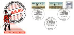 "(Bu-B1) BRD Sonderkarte ""DER BESONDERE STEMPEL 8.8.88"" MiF WB SSt 8.9.88--8 BLINDHEIM1 8888 - Cartas"