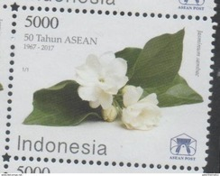 INDONESIA, 2017, MNH, JOINT ISSUE, ASEAN, FLOWERS, 1v - Joint Issues