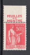 - FRANCE N° 283h Neuf ** MNH - 50 C. Rose-rouge Type Paix IV AVEC BANDE PUBLICITAIRE - Cote 40 EUR - - 1932-39 Peace