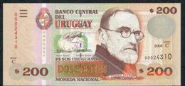 URUGUAY  LOW NUMBER PP89a 200 P.U.  2003  Serie C #00024310  UNC. - Uruguay