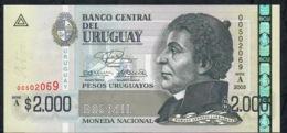 URUGUAY  P92 2000 P.U.  2003  Serie A  Nice Number  #00502069  UNC. - Uruguay
