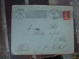Paris R P Depart Flamme Krag 7 Lignes Droirs  1910 Sur Lettre Timbre Semeuse - Storia Postale