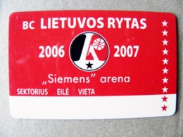 Abonement Subscription Ticket Plastic Card To Full Season Matches Of Basketball Team Lithuania Lietuvos Rytas 2006/2007 - Sports