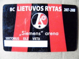 Abonement Subscription Ticket Plastic Card To Full Season Matches Of Basketball Team Lithuania Lietuvos Rytas 2007/2008 - Sports