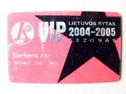 Abonement Subscription VIP Ticket Plastic Card To Full Season Matches Basketball Team Lithuania Lietuvos Rytas 2004/2005 - Sports
