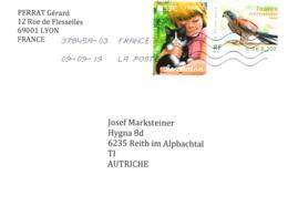 Auslands - Brief Von 69001 Lyon Mit € 1,32 Mischfrankatur 2019 Tiere Falke Katze - 2018-... Marianne L'Engagée