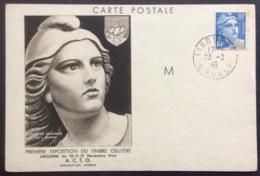 CM77 Carte Maximum 723 Marianne Gandon 10F 23/2/1946 Première Exposition Timbre Oblitérée - Cartas Máxima
