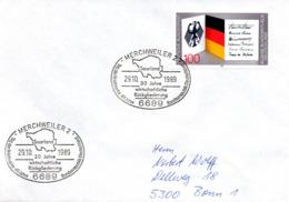 """(Bu-B1)BRD Sonderstempel-Beleg """"Saarland 30Jahre Wirtschaftliche Rückgliederung""""EF BRD Mi1421 SSt 29.10.1989 MERCHWEILER - BRD"""