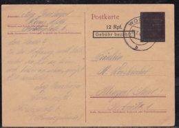 Allemagne, Occupation Alliés - Entier à L'effigie D'Hitler, Caviardé - Càd Worms Juillet 1946 - Allemagne