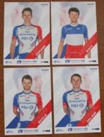 Cyclisme , Tour De France 2019, 4 Cartes Individuelles FDJ Groupama : Demare , Seigle, Delage, Roux Champion De France - Cyclisme