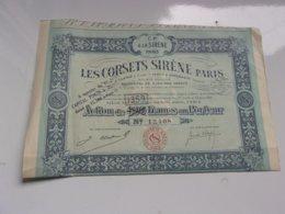 LES CORSETS SIRENE PARIS (maison Clapin & Farcy & Oppenheim) 1922 - Actions & Titres