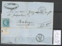 France - Lettre Avec 20 Cts Napoléon Lauré - Croix De Repére - Cachet De Saint Amand De Boix En Charente - SIGNEE CALVES - 1863-1870 Napoleon III With Laurels