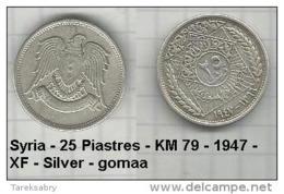Syria - 25 Piastres - KM 79 - 1947 - XF - Silver - Gomaa - Syria