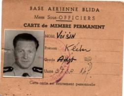 Base Aérienne Blida - Carte Mess Sous-officiers - Armée De L'air - 10 X 8 Cm - Documents