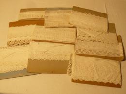 Dentelle, Broderie, 30 Mètre 11 Plaquettes Entamées En Coton. - Laces & Cloth