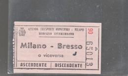 BIGLIETTO A.T.M  INTERURBANO MILANO --  BRESSO - Europa