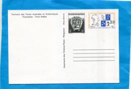 T A A F-carte Entier Postal N°2--2.30 Frs AMIRAL Douguet-neuf -avec  Blason - Entiers Postaux