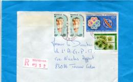 -Marcophilie-NOUVELLE CALEDONIE-Lettre REC Cad 1984-4 Stamps -coquillage+ Télécoms+pritchardiopis - Briefe U. Dokumente