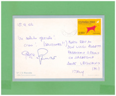 2002 ESPANA RONDA AIR MAIL POSTCARD WITH 1 STAMP TO ITALY - 2001-10 Storia Postale