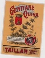 étiquette GENTIANE QUINA / TAILLAN PARIS SETE - Etiquettes