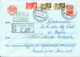 USSR Uprated Registered Postal Stationery Cover Sent To Denmark 12-4-1968 - 1923-1991 USSR