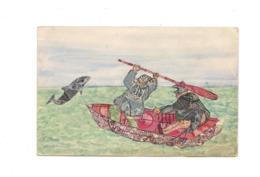 CPA COLLAGE DE TIMBRES - PECHEURS EN BARQUE - POISSON - - Timbres (représentations)