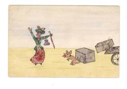CPA COLLAGE DE TIMBRES - FEME ET PETIT CHIEN - VELO - - Timbres (représentations)
