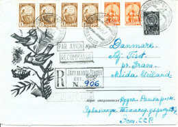 USSR Uprated Registered Postal Stationery Cover Sent To Denmark 9-8-1967 - 1923-1991 USSR