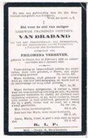 Dp. Van Braband Lodewijk. Echtg. Verheyden Philomena. ° Olmen 1838 † Olmen 1906  (2 Scan's) - Religion & Esotérisme