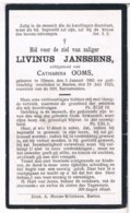 Dp. Janssens Livinus. Echtg. Ooms Catharina. ° Olmen 1861 † Baelen 1922  (2 Scan's) - Godsdienst & Esoterisme