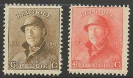 35-40 C Albert Casqué, **, COB 172-173, Cote 22.00 € - 1919-1920  Cascos De Trinchera