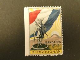 France Vignette Patriotique Publicitaire Bandages BERGOUGNAN Guerre 14-18  Type Delandre Bord De Feuille - Erinnophilie