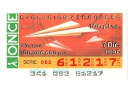 SPAIN CUPÓN DE ONCE LOTTERY LOTERÍA ESPAÑA 1990 EVOLUCIÓN Y PROGRESO EVOLUTION AND PROGRESS PLANE AIRPLANE AVIÓN AIR - Billetes De Lotería